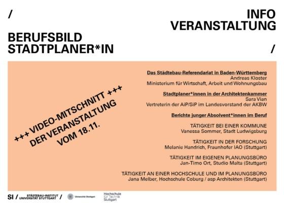 Vorschau-BildVideomitschnitt Veranstaltung Berufsbild Stadtplaner*in 18.11.2020